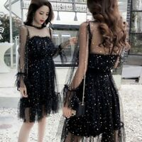Lady Hollow Out Dress Star Sequins Retro Mesh Elegant Fairy Gothic Lolita New
