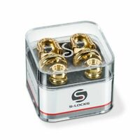 Genuine Schaller GOLD S-Lock Guitar Strap Locks Pair/Set, Made in Germany