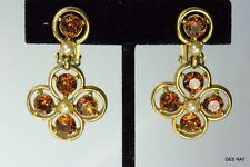 Bogoff Clip on Earrings Clips Amber Rhinestone Vintage Earrings Sagaofluck