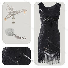 Women Sequin Prom Dresses Beads Art Deco Formal Evening Cocktail Party Dress 20s
