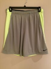 "Men's Nike Dri-Fit 9"" Grey & Lime Green Training Shorts      Size Large    NWT"