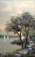 Ancien tableau XIX aquarelle paysage lacustre animé Barbizon signé ROUSSEAU