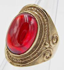 MEN WOMEN RING RED NAGA EYE CRYSTAL BRONZE SILVER SHIELD VINTAGE LOOK SIZE 8.5
