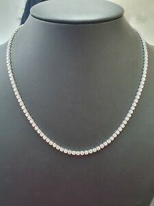 Last Piece..! 8.00 Ct Round Diamond Tennis Necklace In Hallmarked White Gold