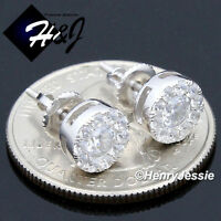 MEN 925 STERLING SILVER 8MM LAB DIAMOND ICED ROUND SCREW BACK STUD EARRING*E143