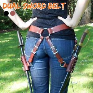 Dual Medieval SCA Sword Holster With Belt Rapier Scabbard Holder Belt 2  F