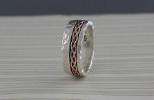 Sterling Silver & 10K Rose Gold Celtic Weave Ring Hammered Keith Jack Sz 9 / 9.5