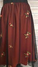 2X-LARGE LuLaRoe LOLA SKIRT black red orange flowers lace tulle overlay NWT XXL