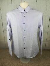 Men's Topman Long Sleeve White, Purple Striped Button Collar Shirt Medium/M #G