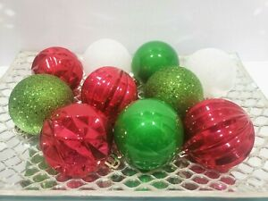 """10 Grinch Red Green Glitter Plastic Christmas Ornaments 2.5"""" Home Decor"""
