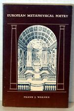 1974 SIGNED Book European Metaphysical Poetry Frank Warnke French German Poems