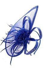 Large Ladies Day Royal Ascot Headband Clip Cobalt Blue Fascinator Wedding Hat UK
