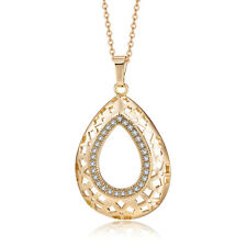 White Lucky CZ Drop Pendants 18K Yellow Gold Filled Vintage Wholesale