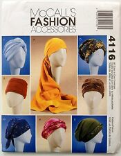 McCalls Sewing Pattern 4116 Turban Headwrap Chemo Hats Misses S-L
