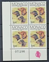 Monaco 1857 postfrisch / Viererblock Ecke u.L. Hunde (7910) ....................