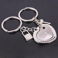 NEW Lovers Keychain Heart to Heart Stainless Steel Keyring Couples Creative Gift