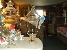 """Clear Glass Apothecary Jar With Lid,Footed Wedding/Candy/Buffet,18 1/2""""Tall"""
