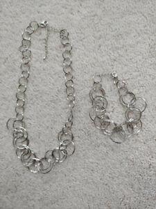 Lia Sophia Circle Silver Tone Necklace and Bracelet Set