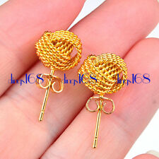 18K Yellow Gold Filled Tarnish-Free 10mm MeshKnot Stud Post Earring Jewelry H3K