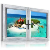 """3D PARADISE ISLAND Window View Canvas Wall Art Picture Large SIZE 37X23"""" W102"""