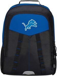 """Detroit Lions Backpack NFL """"Scorcher"""" 18"""" Black Blue Laptop Compartment"""