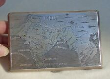 Vintage Sterling Silver Cigarette Case Box India Burma Ruby Taj Mahal WWII