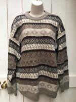 Vintage 90s Beige Multi Aztec Wool Blend Jumper Large Grandad Crazy Cosby