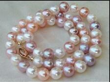 """18"""" Elegant AAA+ 8-9mm white purple pink South sea Multicolor Pearl necklace 14k"""