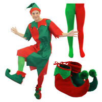 MENS ELF COSTUME SANTAS LITTLE HELPER ADULT XMAS CHRISTMAS FANCY DRESS XS-4XL