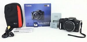 Canon PowerShot SX170 IS 16.0 MP Digital Camera  W/ Bag Tested Works