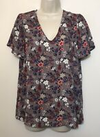 Pleione Small Blouse Gray Purple Floral Short Tie Sleeve V-Neck Relaxed Fit Top