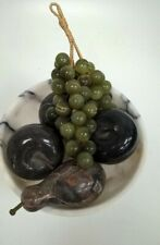 Vintage Italian Style Stone Grape Cluster, Apples and Pear In Marble Bowl #672