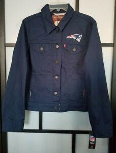 New England Patriots Women's Navy Levi's Twill Trucker Button-Up Jacket - Sz XL