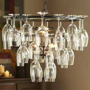 Modern 28pcs Glass Wine Cup Chandelier Bar Kitchen Living Room Lighting Fixture