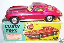 RARE CORGI TOYS CHEVROLET CORVETTE PHARES ESCAMOTABLES ROUGE METAL 310 1963 BOX