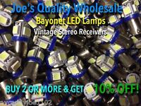 (25)BAYONET LED LAMP-COOL BLUE-6.3V/AC/MC/MAC/METERS-BA9s/McIntosh/#47 #44 #1847