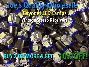 (25)BAYONET LED LAMP-COOL BLUE-6.3V/AC/MC/MAC/METERS-BA9s/McIntosh/#47 #44 #1847