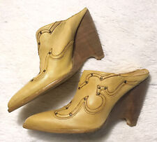 Bcbg Girls Western Cowgirl Cowboy Leather Mule Wedge Slides Heel Boot 9.5 B 39.5