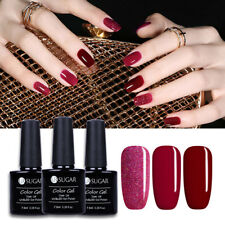 3bottles Red UV Gel Polish Kit Glitter Soak Off Gel Varnish Nail Art Manicure