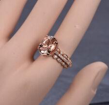2ct Oval Cut Morganite & Diamond Wedding Trio Ring Set 14k Rose Gold Over SIlver