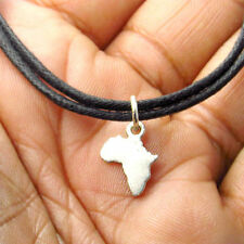 Petite Map of Africa Necklace Afrocentric African Choker Hip Hop Jewelry