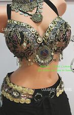 Black Rose Belly Dance Bra/Belt SET Size D Gypsy Tribal Fusion FAE