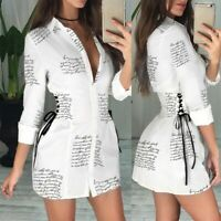 Womens Letter Printed Bodycon Dress Ladies Sexy V Neck Slim Fit Mini Dresses UK