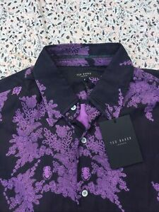 TED BAKER - Black - Purple Floral - Button Cuff - Shirt - Size 3 - New With Tag