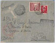 ITALIA REGNO: storia postale - Sass Posta aerea 115 su BUSTA a BOLIVIA 1938
