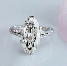 5.36Ct Marquise Off White Genuine Moissanite Engagement 925 Sterling Silver Ring