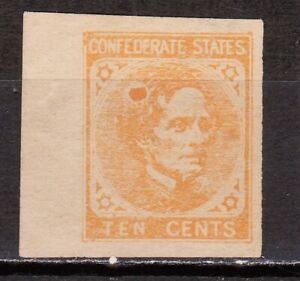 CSA JEFFERSON DAVIS REPRINT CONFEDERATE 10c STAMP OF 1863 MNG MARGIN VF