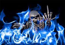 "5.75""Middle finger skull vinyl sticker decal motorcycle guitar helmet truck"