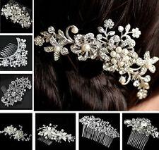 Women's Ladies Rhinestone Bridal Wedding Flower Pearls Headband Hair Clip Comb