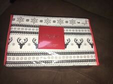"Cynthia Rowley Flannel Twin Sheet Set ""Dancing Reindeer"" Grey White Snowflake"